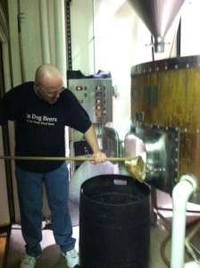 Cleaning the mash tun at Titletown Brewing Company